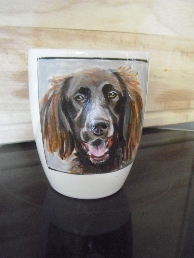 hand painted dog portrait on porcelain mug