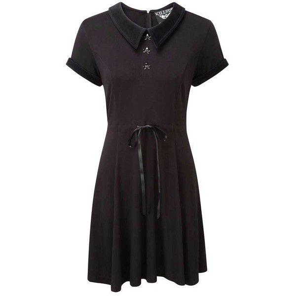 Killstar Doom korte skater jurk met kraag en schedel knopen zwart ($67) ❤ liked on Polyvore featuring dresses