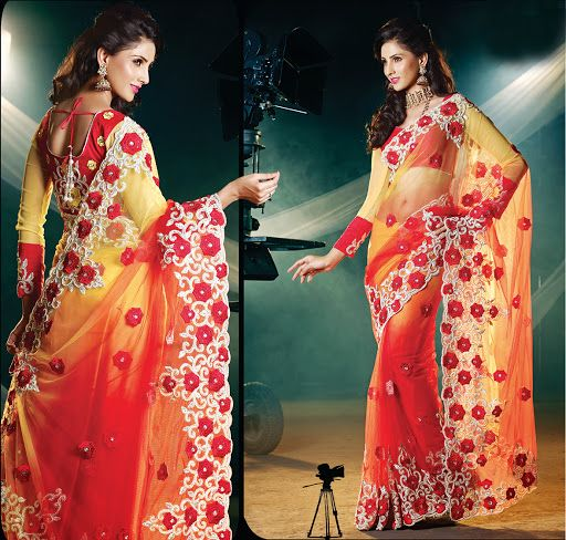 Sparkling Coral & Pale Yellow Embroidered Saree | StylishKart.com
