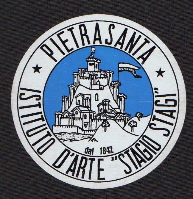 """Adesivo promozionale, 1992. Istituto Statale d'Arte """"Stagio Stagi"""" Pietrasanta (Lu)."""