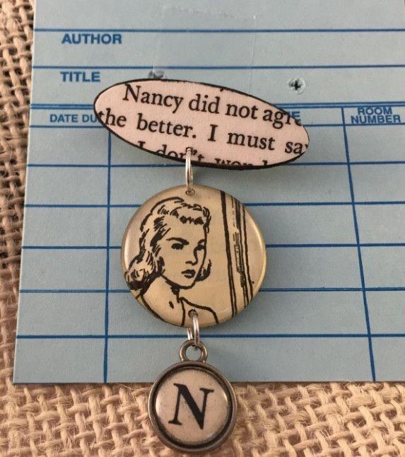 Book Brooch Pin - Author Nancy Drew