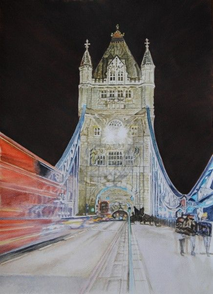Tower by lights, ( Tower Bridge - London England) aquarelle 47 x 38, Fabriano 300 gr, original is SOLD, Exclusive high end imprint on aquarelle paper - 100 Euro www.sandorszikszai.com