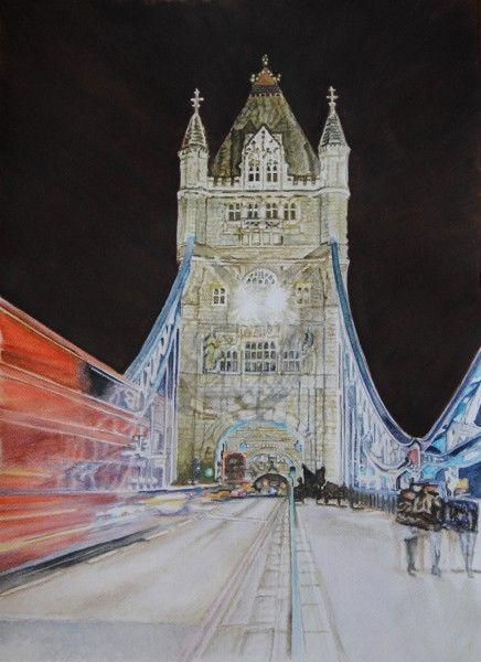 Tower by lights, ( Tower Bridge - London England) aquarelle 47 x 38, Fabriano 300 gr, original is SOLD, Exclusive high end imprint on aquarelle paper - 100 Euro www.sandorszikszai.com