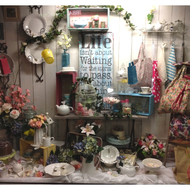 new window display retro funky vintage kitchenware display for
