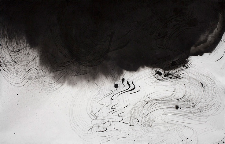 """Untitled (Image 9461), 25""""h x 38-1/2""""w, water & Sumi ink on handmade kozo paper, 2011. © Sky Pape, all rights reserved."""