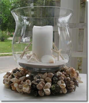 you could do something like this in a bowl, without the base use a clear short pillar jar inside with sea glass, shells and water, that way you don't have to get the sand and starfish wet and you could give one to your wedding party at end of the night or to someone at the table.  these are just ideas;)