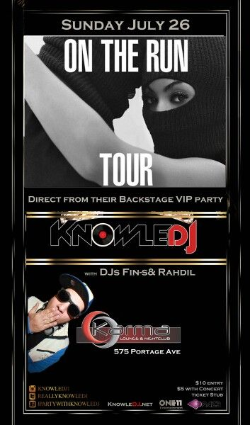 #OTR After Party - Sunday @ Karma Lounge & NightClub (575 Portage Ave) #Winnipeg  $10 or $5 with a ticket stub With Fin-S & Rahdil....AND TOUR DJ #KnowleDJ