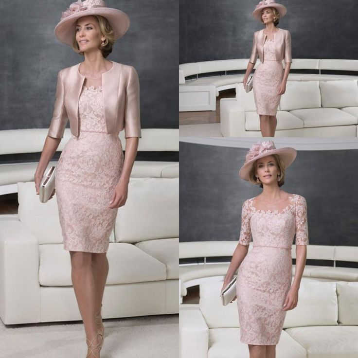 Gorgeous Mother of the Bride Dresses With Jacket Knee-Length Lace Half ...