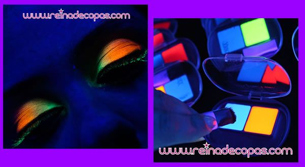 Sombras de ojos fluorescentes aplicadas en párpados, brillando con luz negra o ultravioleta.  http://www.reinadecopas.com/es/reinadecopas/312-sombra-ojos-neon-fluor-bicolor.html