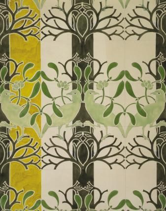 Birds & Mistletoe Wallpaper - Voysey