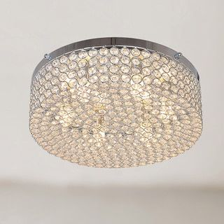 Berta 6-light Chrome Flush Mount Chandelier with Clear Crystals - 16628815 - Overstock.com Shopping - Big Discounts on The Lighting Store Flush Mounts