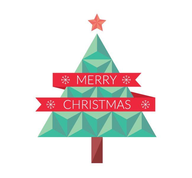 Flat Geometric Christmas Tree Vector Eps Format