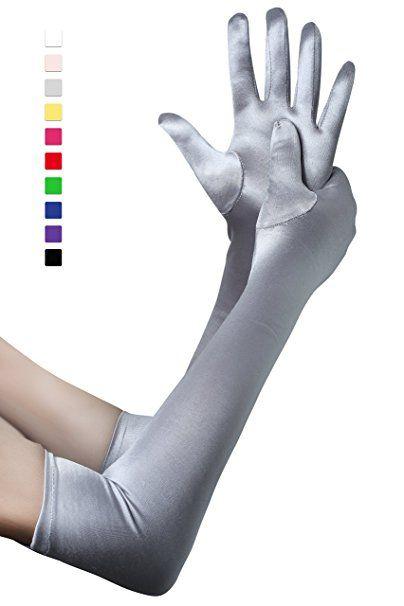 2a3176cc755d17 BABEYOND Damen Handschuhe Satin Classic Opera Fest Party Audrey Hepburn  Handschuhe 1920er Stil Handschuhe Elastisch Erwachsene Größe Ellenbogen bis  ...