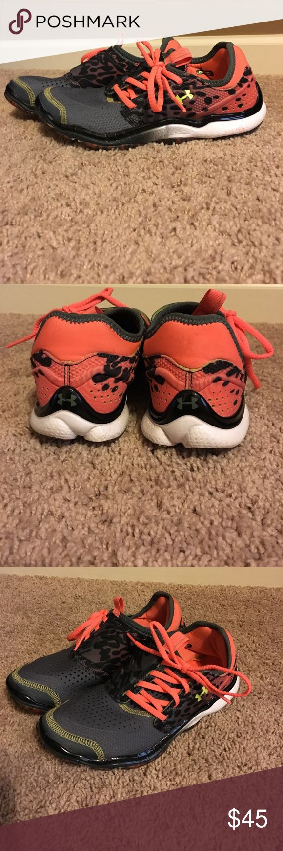 Under Armor Micro G Toxic 6 Running Shoe Coral and Grey Leopard Print Under Armor Micro G Toxic 6 Running Shoe with Side Tie and Lime Under Armor Symbol. Extremely Lightweight. Worn 2-3 times, still in good condition. Under Armour Shoes Athletic Shoes