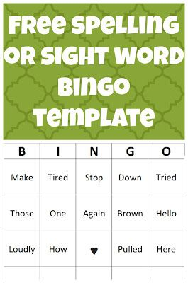 Help your kiddos learn their spelling words or sight words with this downloadable bingo template! You can edit in word