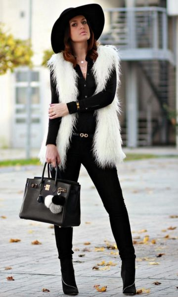 Look: Black and White com Colete