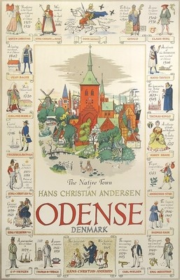 A Danish vintage travel poster of Odense, the home town of the famous writer Hans Christian Andersen (1950)