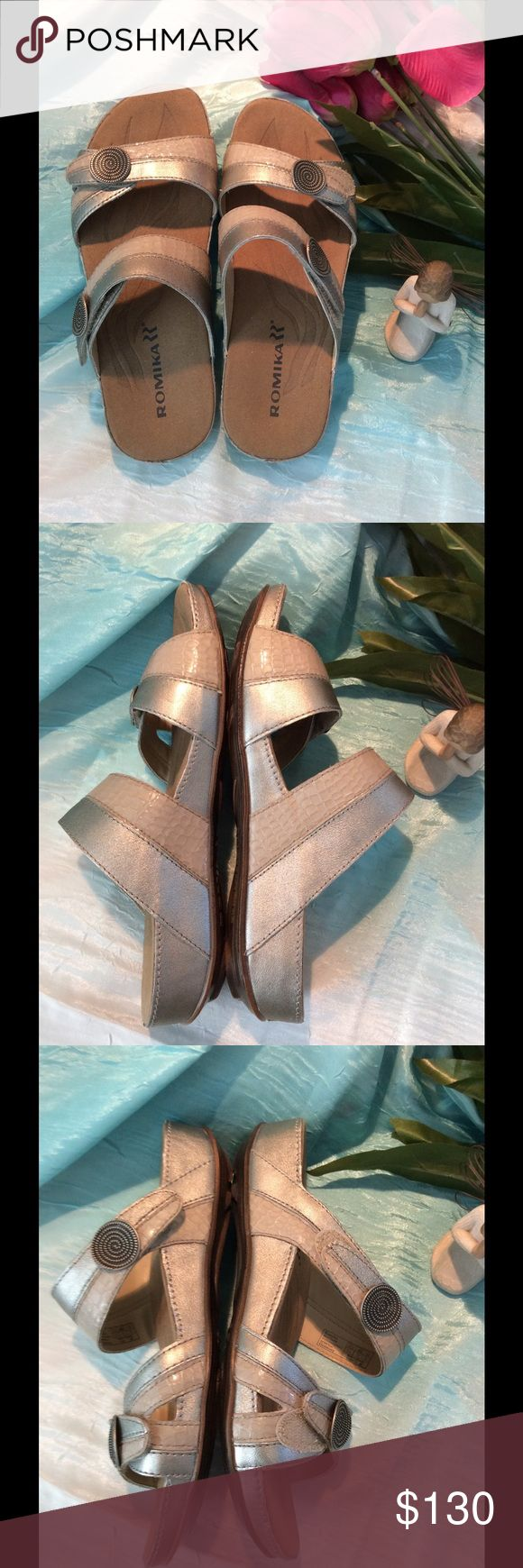 🎉🎉LABOR DAY SALE 🎉🎉🎀Firm🎀 Fidschi 22' Sandal Size EU 37 or USA 7 Brand new shoes, purchased 2 weeks ago and neber worn. No box.  Textured buttons light up the subtly shaded straps of a comfy slip-on sandal with a contoured footbed. Adjustable straps with hook-and-loop closure. Leather, suede and textile upper/synthetic lining/polyurethane sole. By Romika Romika Shoes Sandals