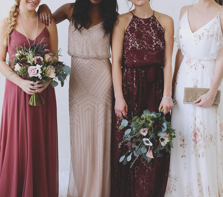 Mix & Match Maids | Inesse Dress in Rose | Brooklyn Dress in Blush | Alana Dress in Black Cherry | Prim Dress