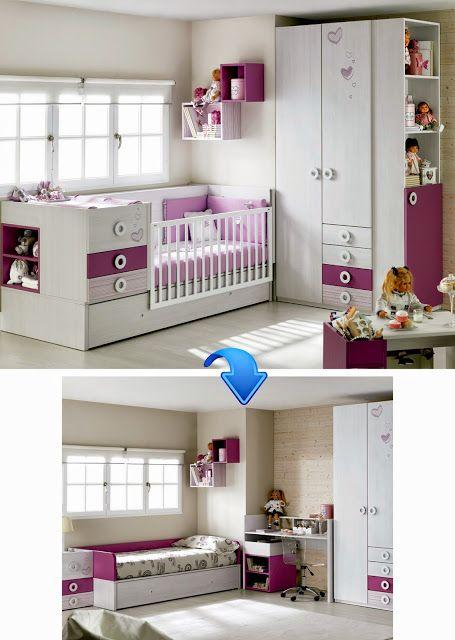 Cuna convertible con cama nido, cajonera y cambiador. Se transforma en habitación completa, cama, cajonera y escritorio.