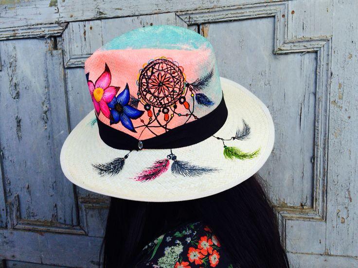 Sombreros pintados 100% a mano. Pedidos 3125681098-3135366773