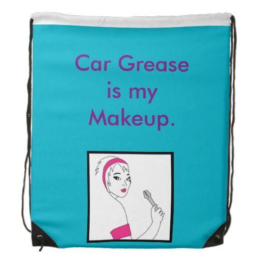 Vehicle Repair Car Grease Drawstring Backpack available here: http://www.zazzle.ca/vehicle_repair_car_grease_drawstring_backpack-256414257584272360 $17.95 #femalemechanic #girlpower