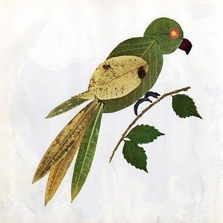 Pressed leaf animals/birds