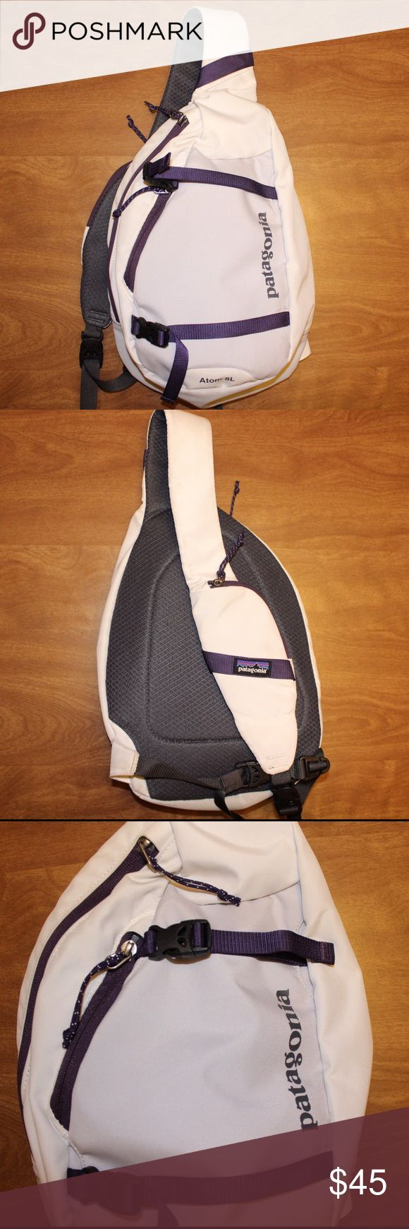 Patagonia Atom Sling Backpack 8L Great condition! Just gave a good scrubbing and washing before taking pics:) (Looking this this bag in all black as well so I would be open to a trade for that!) Patagonia Bags Backpacks