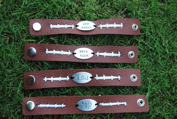 Personalized football bracelet by MSCjewelry on Etsy, $27.00