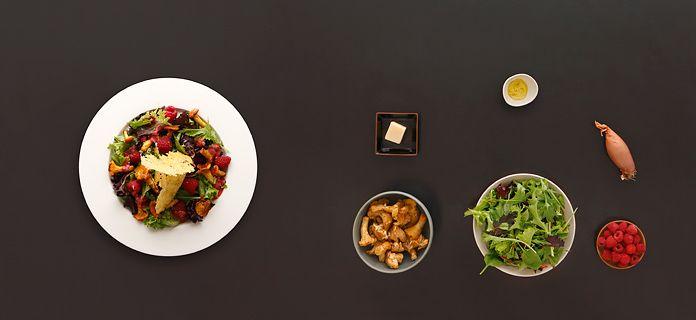 Pfifferlingssalat mit Himbeervinaigrette und Parmesanknusper