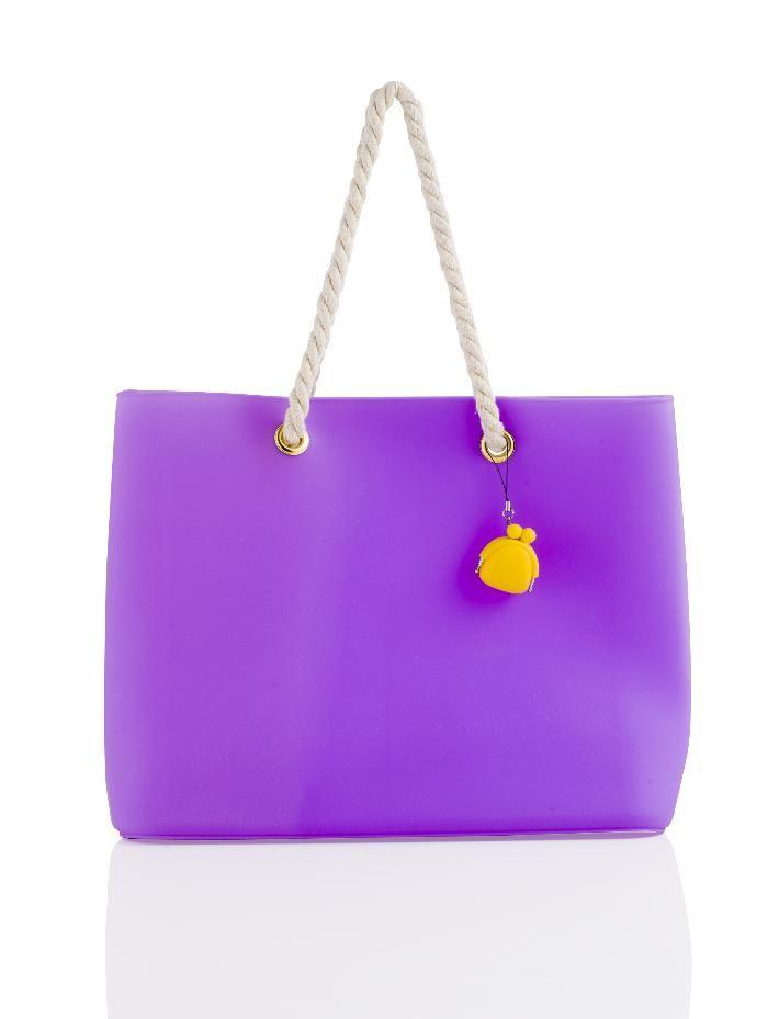 Brandani - Easy Bag fashion lilla silicone con manici in corda
