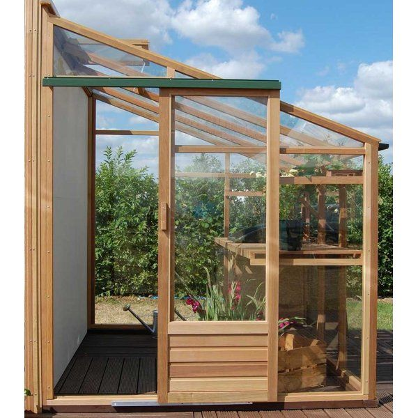 Greenhouse lean to wood and glass great idea for adding for Adding a conservatory