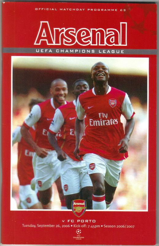 Arsenal v FC Porto Football Programme UEFA Champions League 26/09/2006 Listing in the European Club Fixtures,Football (Soccer),Sports Programmes,Sport Memorabilia & Cards Category on eBid United Kingdom