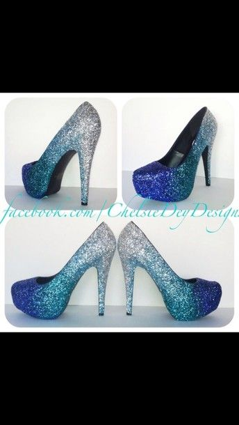 shoes high heels blue glitter heels sparkle