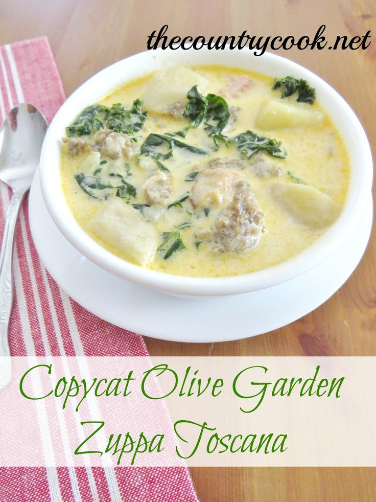 Copycat Olive Garden Zuppa Toscana Olive Gardens Country Cook And Olives