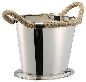 Nautical Rope Polished Silver Modern Wine Cooler traditional serveware