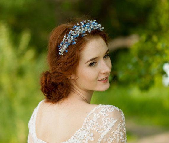 Blue wedding tiara- Aqua blue wedding crown -Crystal tiara- Blue bridal tiara- Blue headpiece -Bridal hair accessories -Wedding tiara- Diadem ★ Size: be mid-height aprox. 3 cm(1,2 in), sides 2,5 cm and 2 cm (1 and 0,7 in) ★This beautiful aqua blue tiara was made of three shades