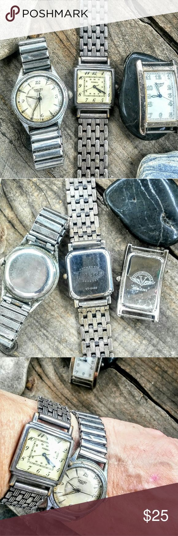 Three Assorted As Is Vintage Fossil Watches Three Assorted As Is Vintage Fossil Watches One Vintage Watch is Criton As Is, Working Condition Unknown Will Need Repair Very Cool Retro Styles Fun Artistic Project to Transform Fossil Accessories Watches