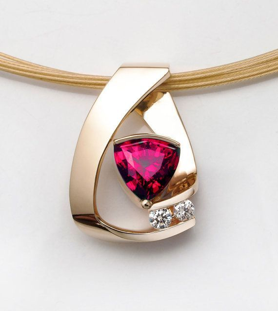 ruby necklace, 14k yellow gold, Chatham ruby necklace, diamond necklace, July birthstone, red gemstone, fine jewelry, for her - 3452
