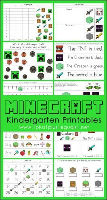 Minecraft Kindergarten Printables Minecraft classroom