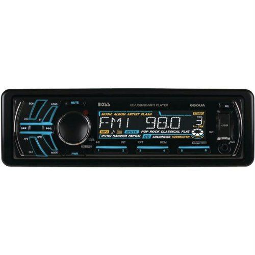 Boss Audio 650UA - Single-DIN CD/MP3 AM/FM Receiver USB/SD Memory Card AUX. New - Retail. 1-Year Warranty. Boss Audio 650UA. Boss Audio 650UA - Single-DIN CD/MP3 AM/FM Receiver USB/SD Memory Card AUX.