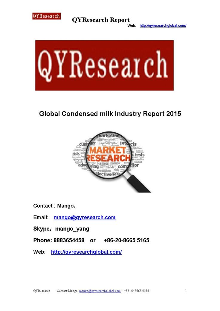 Global condensed milk industry report 2015