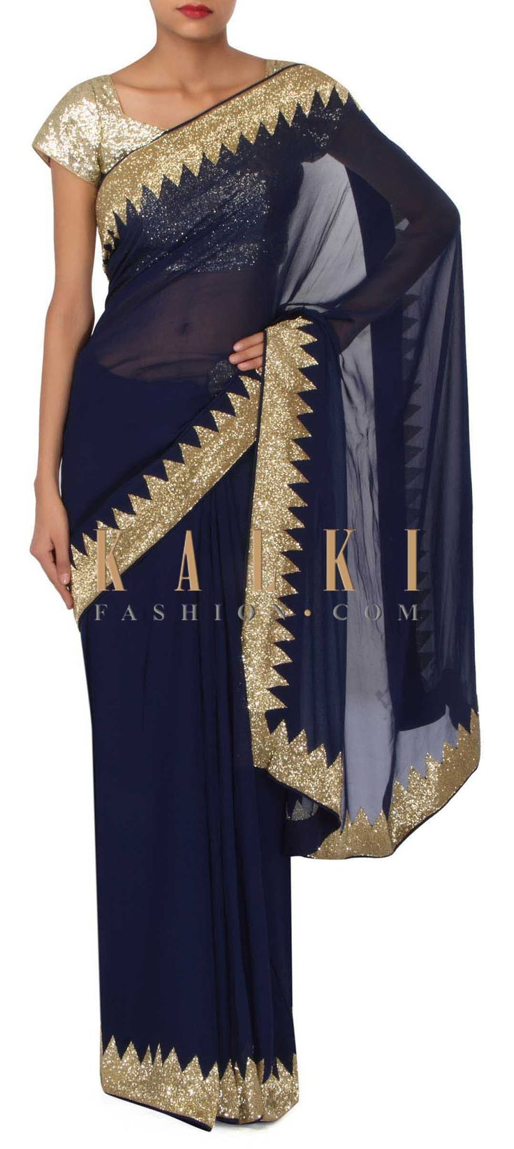 Navy blue saree adorn in kardana embroidery only on Kalki