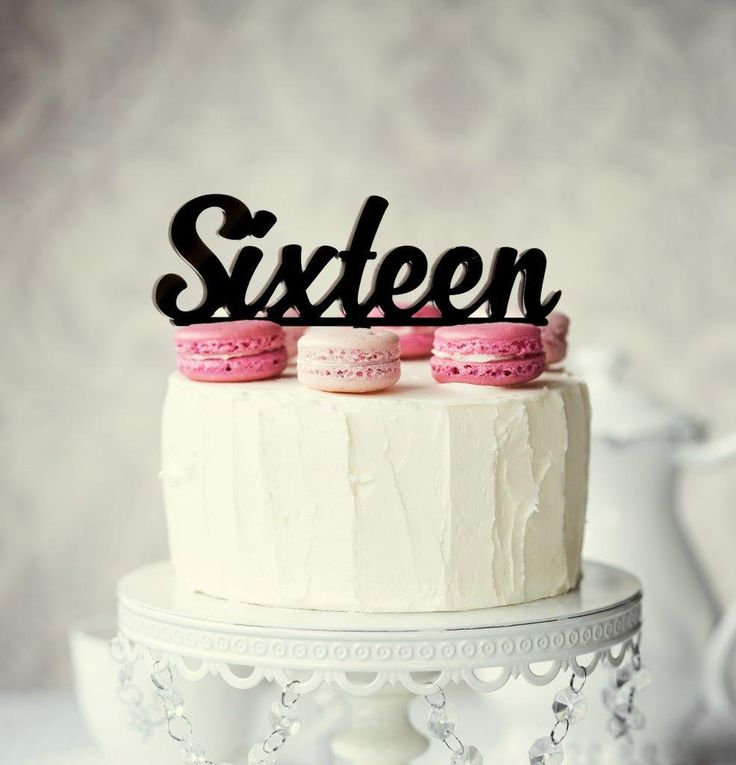 Number SIXTEEN Cake Topper (Black)