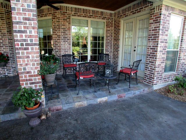 Covered Back Porch Designs | covered patio covered patio with slate surface with stained cement