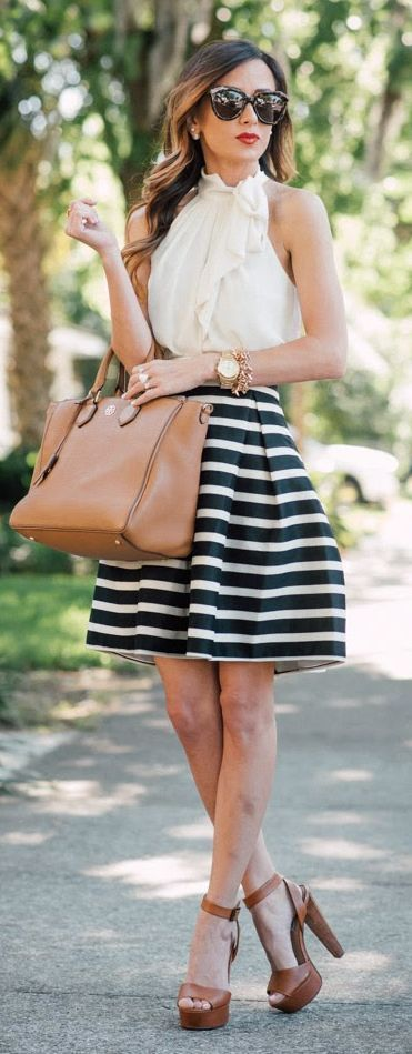 Women's fashion | Striped tulip skirt and white top                                                                                                                                                                                 More