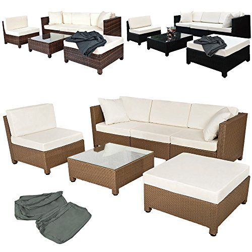 tectake luxury rattan aluminium garden furniture sofa set outdoor wicker 2 sets for exchanging the upholstery different colours