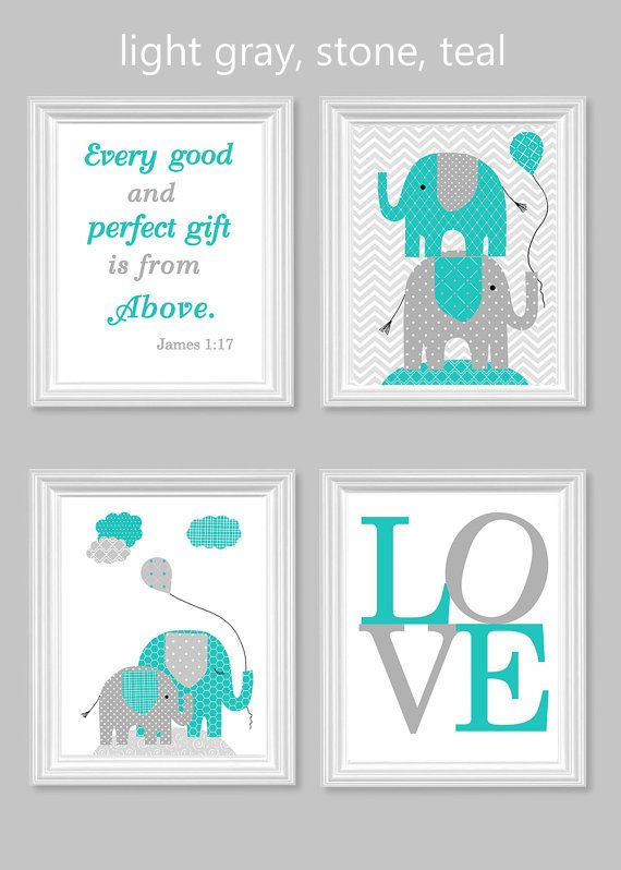 Elephant Nursery Art Gray Turquoise Teal Gender Neutral Baby Decor Bible Verse Love Every Good and Perfect Gift Quote Elephant Canvas Decor