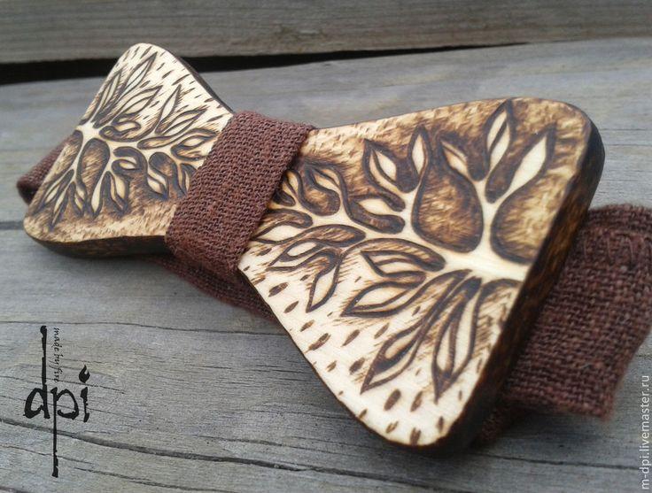 """Купить """"Дерево"""" галстук-бабочка из дерева - бабочка, галстук бабочка из дерева, деревянная бабочка"""