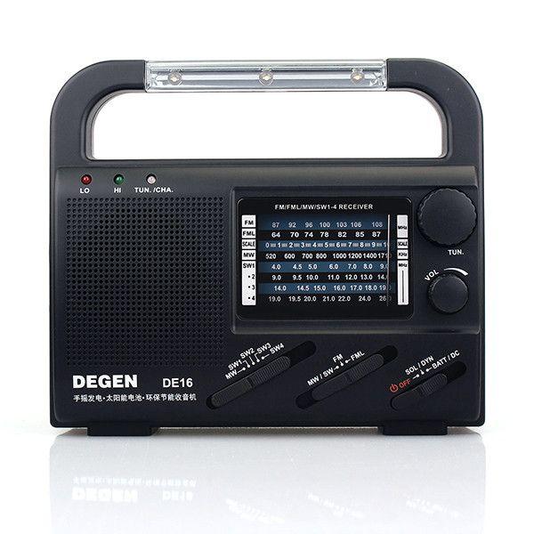 Degen DE16 Portátil digital fm / fml mw sw cigüeñal dínamo radio de emergencia solar receptor mundial